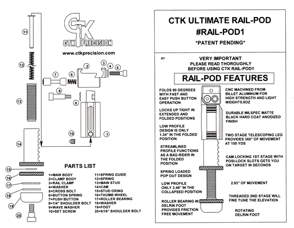 CTK Precision Ultimate Rail-Pod Features